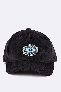 Evil Eye Embroidery Velour Cap