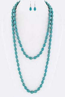 "60"" Oval Bead Necklace Set"