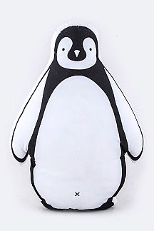 Cotton Canvas Printed Penguin Cushion