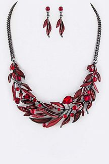 Crystal Leaf Statement Necklace Set
