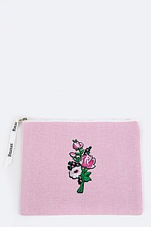 Flower Embroidery Patch Canvas Pouch