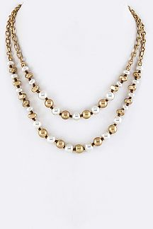 Pearls & Metal Beads Layer Necklace