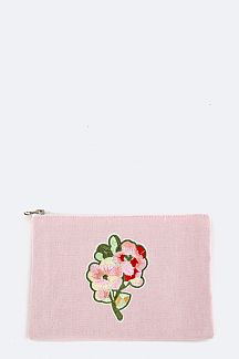 Embroidery Flower Canvas Mini Pouch