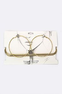 Layer Chain Choker & Notched Metal Hoop Earrings Set