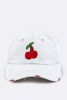 Cherry Embroidery Distressed Denim Cap