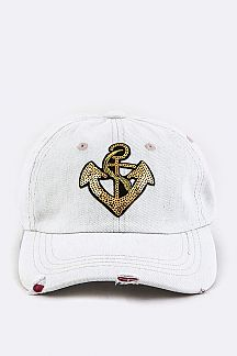 Sequins Anchor Bleached Denim Cap