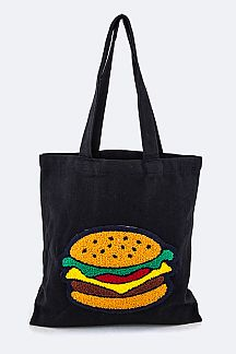 Raised Hamburger Patch Cotton Canvas Tote