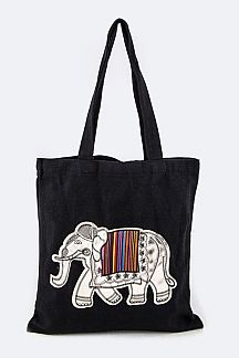 Golden Elephant Canvas Tote