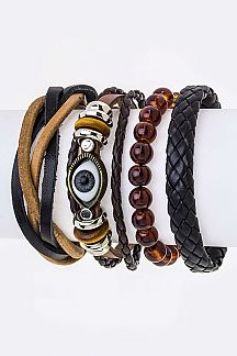 Evil Eye Mix Leather Bracelets Set