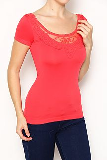 Lace Trim Seamless Fashion Top