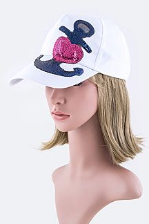 Sequins Heart Anchor Fashion Cap