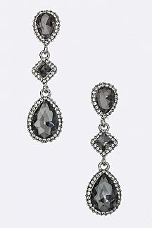 Mix Crystal Teardrop Earrings