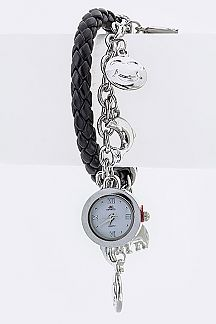 Locket Mix Charm & Leather Toggle Bracelet Watch