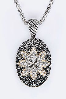 Crystal Flower Pendant Designer Necklace
