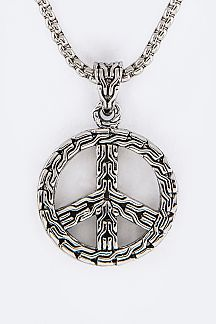 Textured Peace Symbol Pendant Designer Necklace