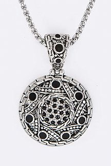 Crystal & Enamel Medallion Designer Necklace