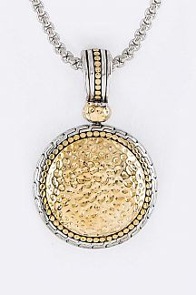 2 Tone Hammered Metal Pendant Designer Necklace