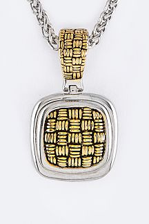 2 Tone Woven Textured Pendant Designer Necklace