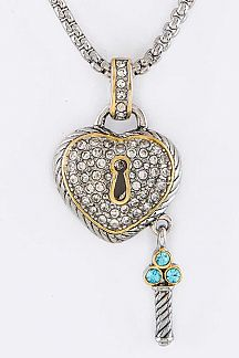 Pave Crystals Heart Lock & Key Pendant Designer Necklace