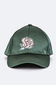 Rose Patch Fashion Satin Cap