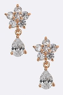 CZ Flower Dangle Earrings