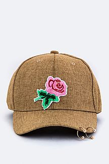 Rose Patch Pierced Canvas Cap