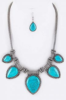 Teardrop Stones Statement Necklace Set