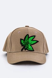 Sequins Marijuana Patch Cap