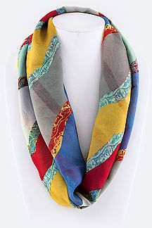 Abstract Mix Print Fashion Infinity Scarf