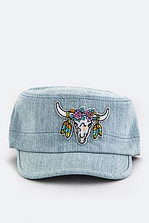 Ornate Cow Skull Patch Cadet Cap