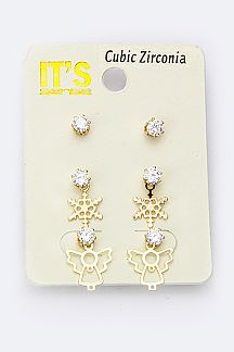 Snowflake & Angel CZ Studs Set