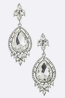 Ornate Crystal Teardrop Earrings