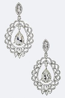 Spiral Frame Crystal Teardrop Earrings