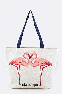 Flamingo Print Large Straw Tote