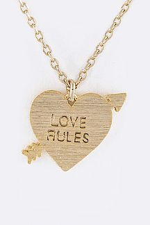 Love Rules Arrowed Heart Pendant Necklace
