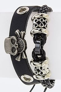 Skull & Mix Hoops Genuine Leather Bracelet