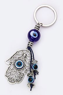 Evil Eye Beads & Hamsa Key Charm