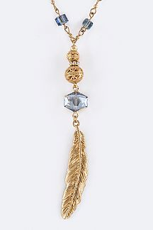Crystal & Metal Feather Pendant Necklace