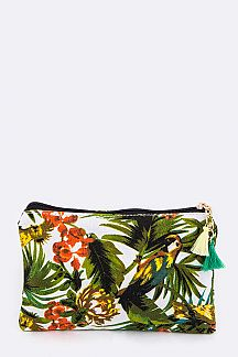 Tropical Bird Print Canvas Tote