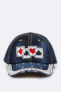 Crystal Cards Embelished Denim Cap