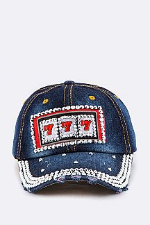 Crystal 777 Embelished Denim Cap