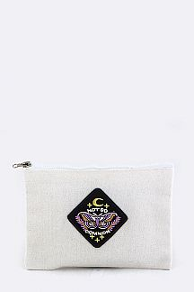 Moth Embroidery Canvas Pouch
