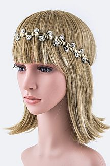 Crystal & Bead Swirlry Stretch Headband