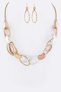 Hinged Hoops Mix Links Necklace Set