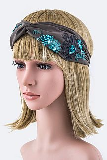 Sequins Flower Turban Knot Headband