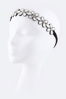Crystal Flower Stretch Headband