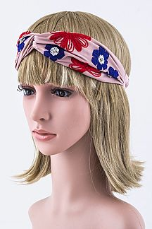 Flower Embroidery Turban Knot Headband