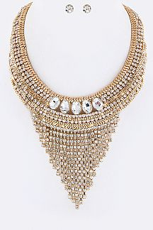 Layer Crystals Collar Necklace Set