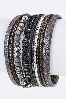 Mix Textured & Bead Layer Cuff