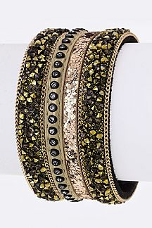 Mix Pave Crystals Cuff